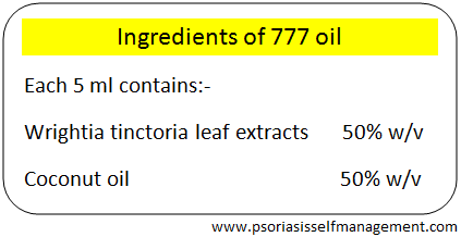 Ingredients of 777 oil for psoriasis