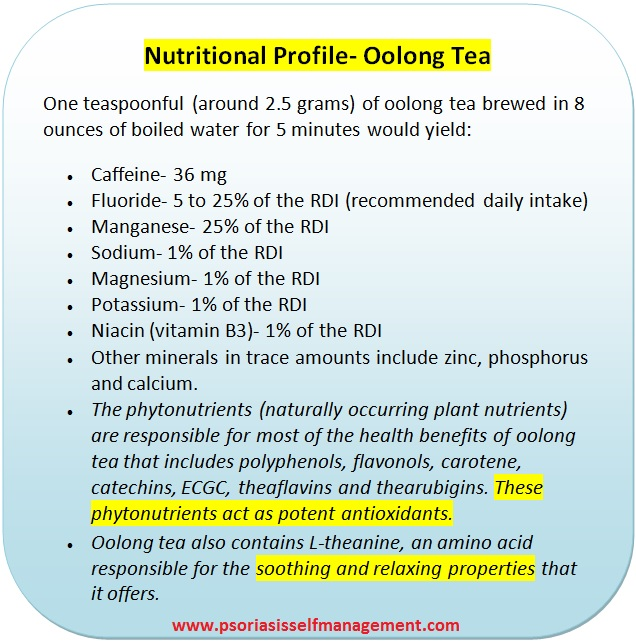 Oolong tea nutrients and Psoriasis