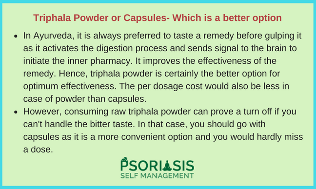Triphala Powder Juice Capsules Psoriasis